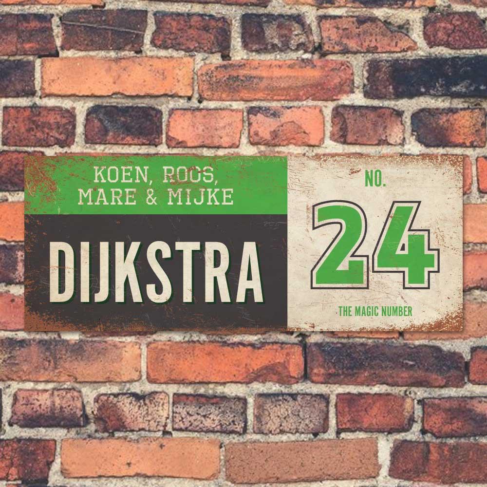 Koenmeloen-vintage-naambord-Dijksrta-zwart-groen-wit