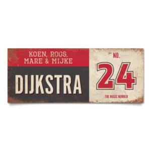 Koenmeloen-vintage-naambord-Dijksrta-zwart-rood-wit