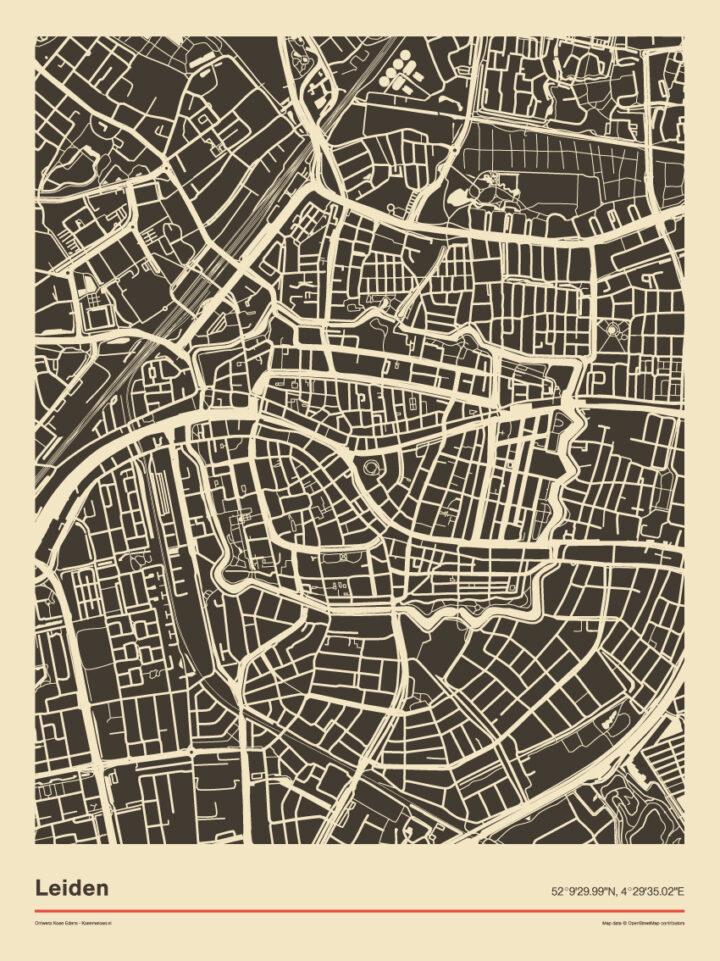 Poster-plattegrond-Leiden-zwart-wit-koenmeloen-2