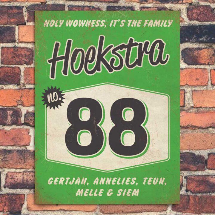 Naambord-Hoekstra-voordeur-groen-zwart-wit-koenmeloen