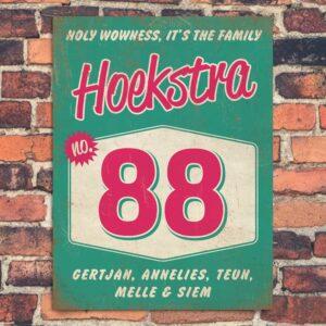 Naambord-Hoekstra-voordeur-mint-roze-wit-koenmeloen