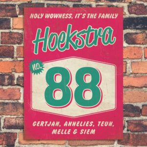 Naambord-Hoekstra-voordeur-roze-mint-wit-koenmeloen