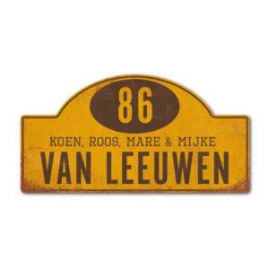 Naambord-Van-leeuwen-koenmeloen-geel-bruin rallybord