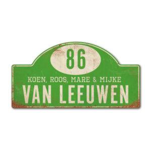 Naambord-Van-leeuwen-voordeur-koenmeloen-groen-wit-rallybord