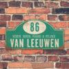 Naambord-Van-leeuwen-voordeur-koenmeloen-mint-wit-muur-rallybord