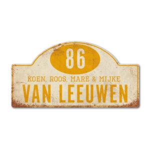 Naambord-Van-leeuwen-voordeur-koenmeloen-wit-geel rallybord