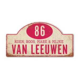 Naambord-Van-leeuwen-voordeur-koenmeloen-wit-roze rallybord