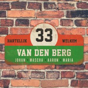 Van-den-Berg-naambord-koenmeloen-groen-rood-wit-zwart-muur rallybord