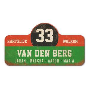 Van-den-Berg-naambord-koenmeloen-groen-rood-zwart-wit rallybord