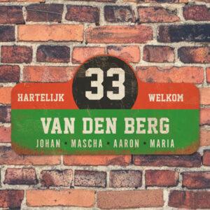 Van-den-Berg-naambord-koenmeloen-groen-rood-zwart-wit-muur rallybord