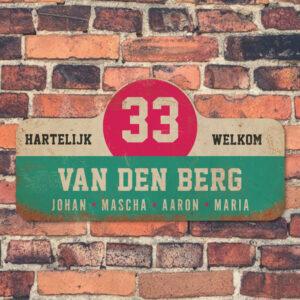 Van-den-Berg-naambord-koenmeloen-mint-wit-roze-zwart-muur rallybord