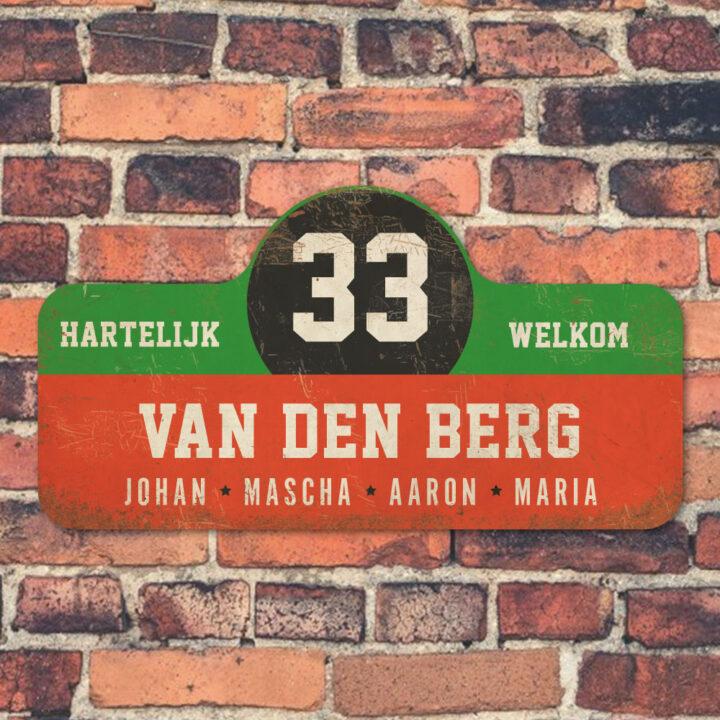 Van-den-Berg-naambord-koenmeloen-rood-groen-zwart-wit-muur rallybord