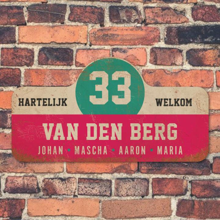 Van-den-Berg-naambord-koenmeloen-roze-wit-mint-zwart-muur rallybord