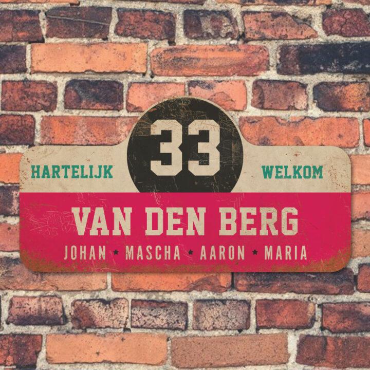 Van-den-Berg-naambord-koenmeloen-roze-wit-zwart-mint-muur rallybord