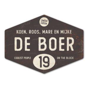 Naambord-de-boer-antraciet-wit-ruit-koenmeloen-vintage-origineel