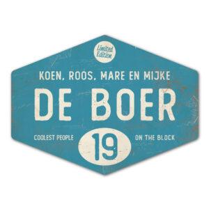Naambord-de-boer-blauw-wit-ruit-koenmeloen-vintage-origineel