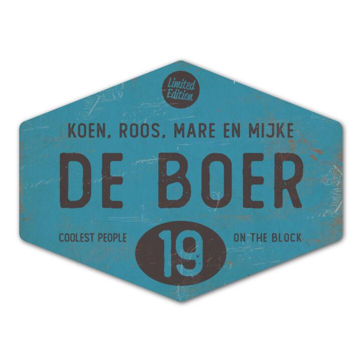 Naambord-de-boer-blauw-zwart-ruit-koenmeloen-vintage-muur