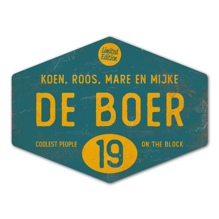 Naambord-de-boer-geel-petrol-blauw-ruit-koenmeloen-vintage-origineel