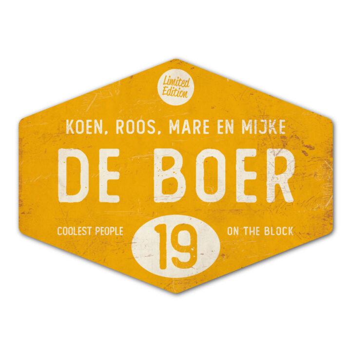 Naambord-de-boer-geel-wit-ruit-koenmeloen-vintage-origineel