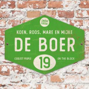 Naambord-de-boer-groen-wit-ruit-koenmeloen-vintage-muur