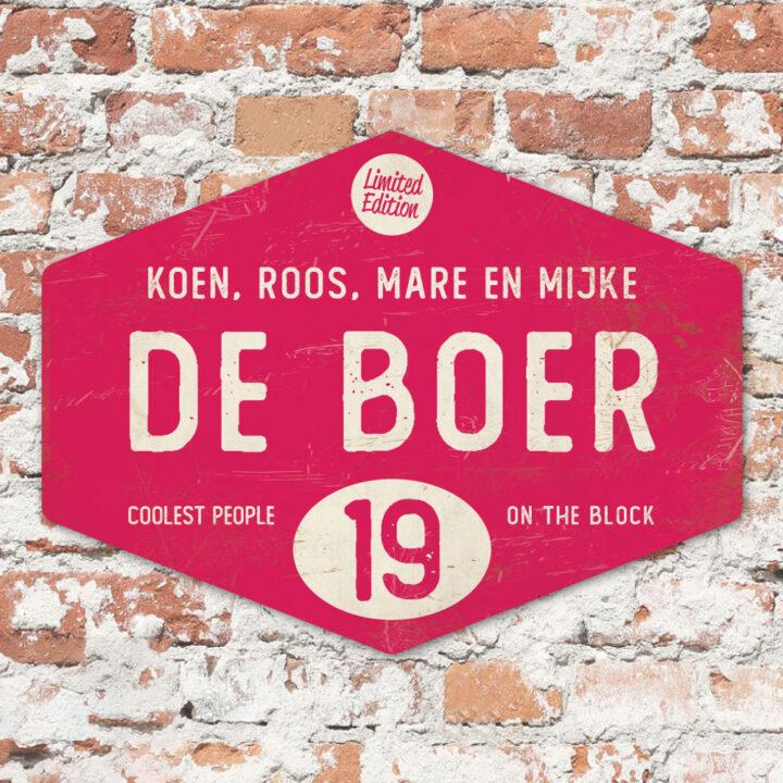 Naambord-de-boer-knalroze-wit-ruit-koenmeloen-vintage-origineel-muur
