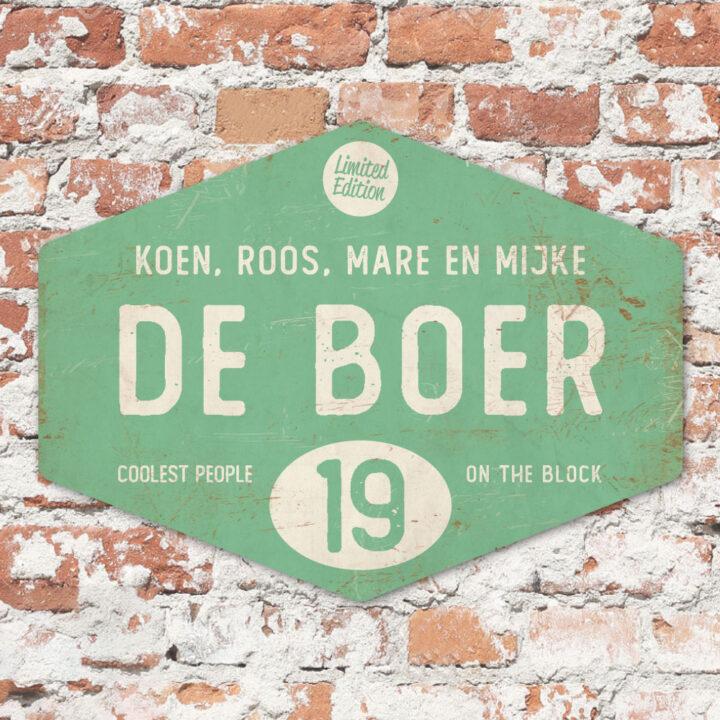 Naambord-de-boer-mint-wit-ruit-koenmeloen-vintage-origineel-muur