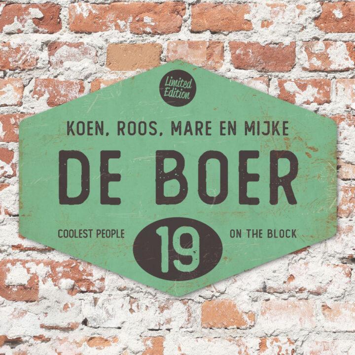 Naambord-de-boer-mint-zwart-ruit-koenmeloen-vintage-origineel-muur