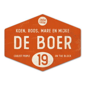 Naambord-de-boer-oranje-wit-ruit-koenmeloen-vintage-muur