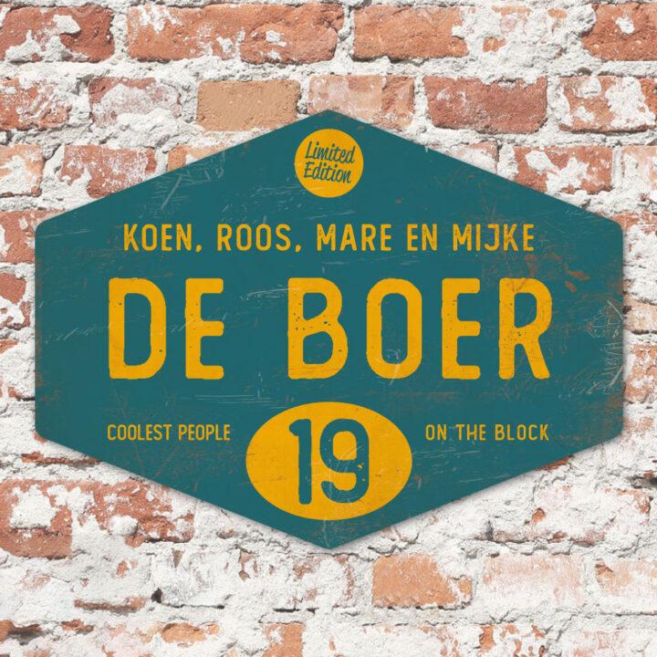 Naambord-de-boer-petrol-blauw-geel-ruit-koenmeloen-vintage-muur