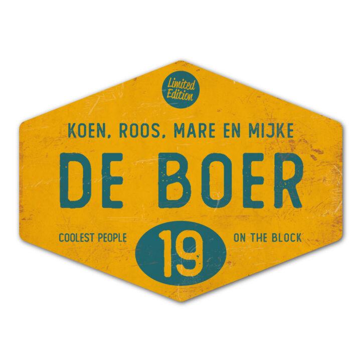Naambord-de-boer-petrol-blauw-geel-ruit-koenmeloen-vintage-origineel