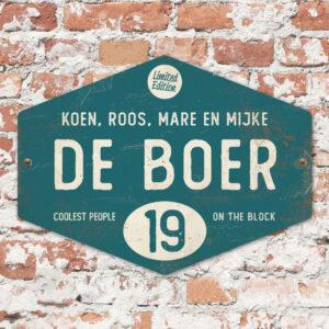 Naambord-de-boer-petrol-blauw-wit-ruit-koenmeloen-vintage-muur