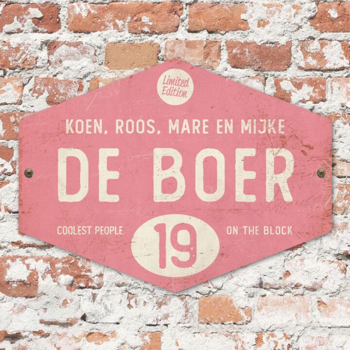 Naambord-de-boer-roze-wit-ruit-koenmeloen-vintage-muur