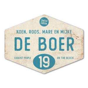 Naambord-de-boer-wit-blauw-ruit-koenmeloen-vintage-origineel