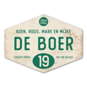 Naambord-de-boer-wit-donkergroen-ruit-koenmeloen-vintage-origineel
