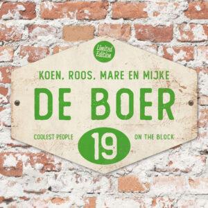 Naambord-de-boer-wit-groen-ruit-koenmeloen-vintage-origineel