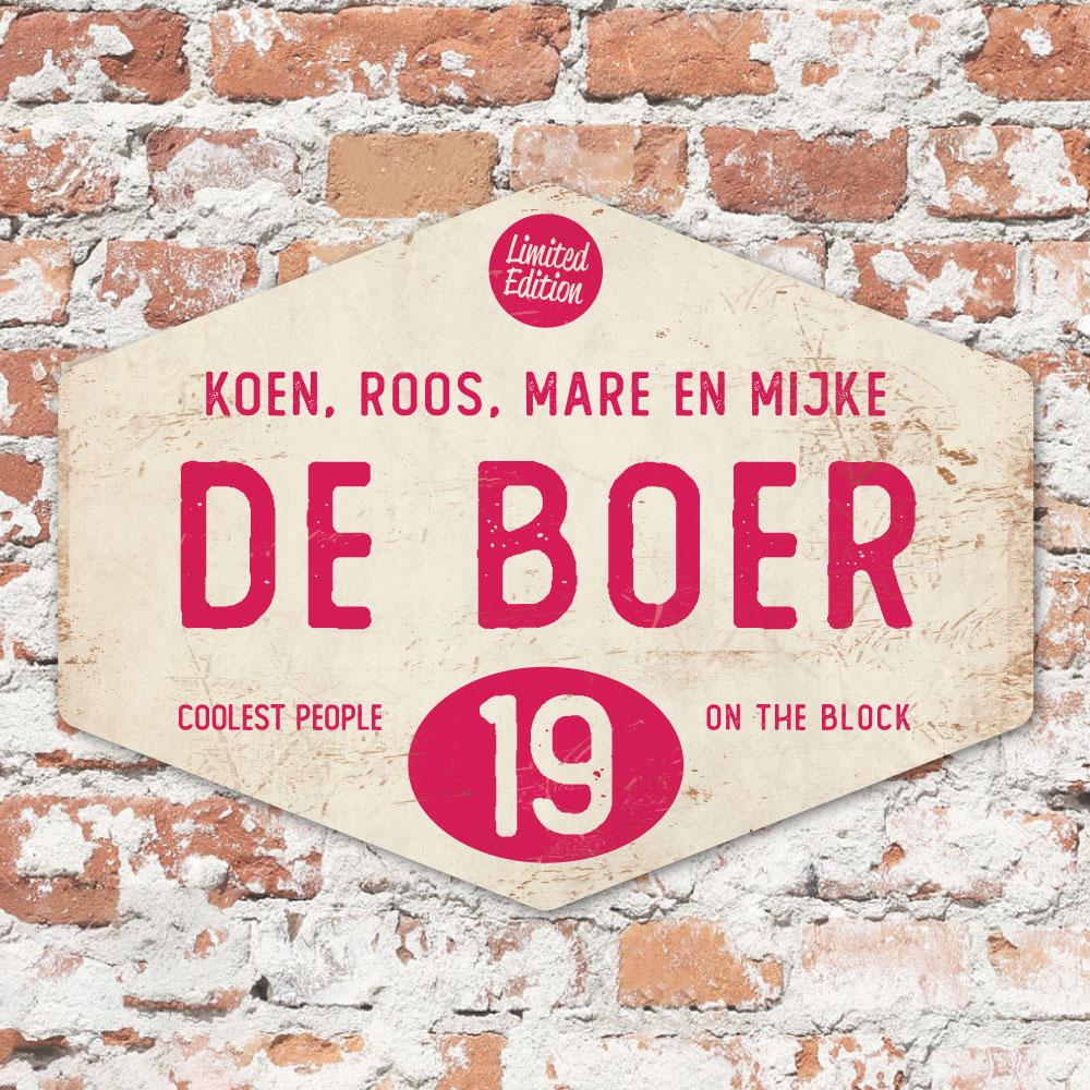 Naambord-de-boer-wit-knalroze-ruit-koenmeloen-vintage-origineel-muur