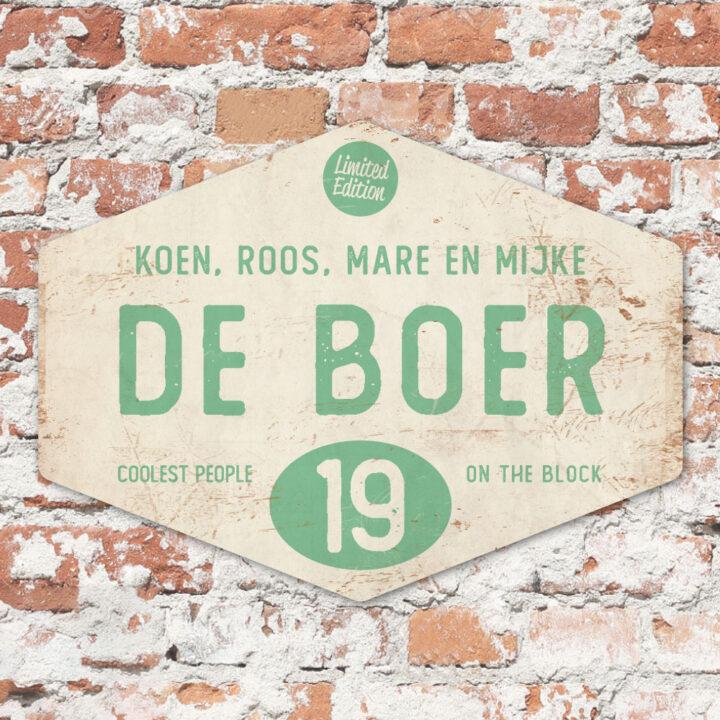 Naambord-de-boer-wit-mint-ruit-koenmeloen-vintage-origineel-muur