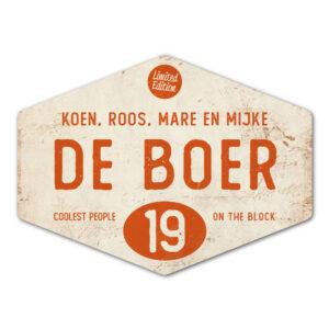 Naambord-de-boer-wit-oranje-ruit-koenmeloen-vintage-muur