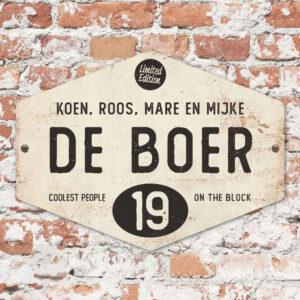 Naambord-de-boer-wit-zwart-ruit-koenmeloen-vintage-origineel
