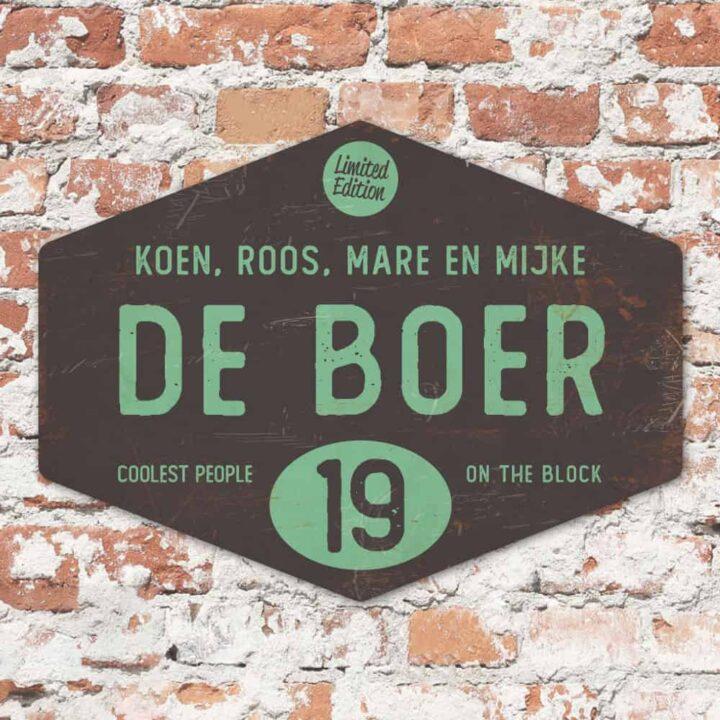 Naambord-de-boer-zwart-mint-ruit-koenmeloen-vintage-origineel
