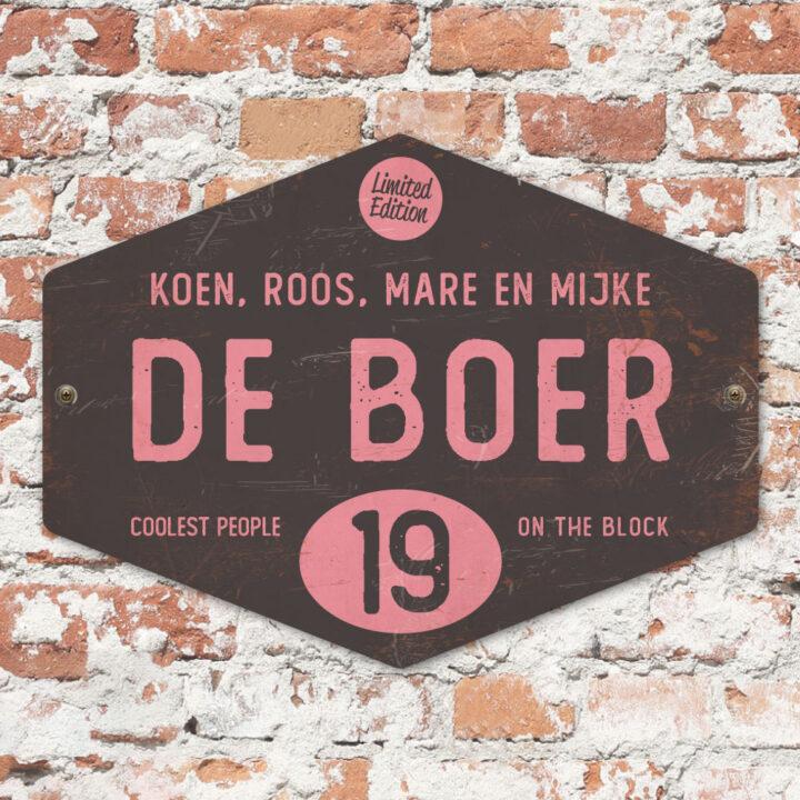 Naambord-de-boer-roze-zwart-ruit-koenmeloen-vintage-origineel