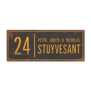 Naambord-Stuyvesant-vintage-koenmeloen-voordeur-antraciet-geel