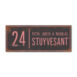 Naambord-Stuyvesant-vintage-koenmeloen-voordeur-antraciet-roze