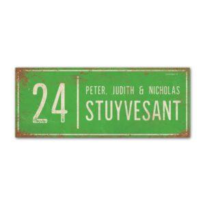Naambord-Stuyvesant-vintage-koenmeloen-voordeur-lichtgroen-wit