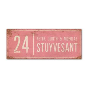 Naambord-Stuyvesant-vintage-koenmeloen-voordeur-lichtroze-wit