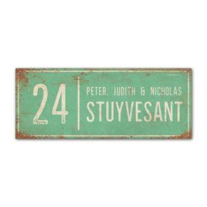 Naambord-Stuyvesant-vintage-koenmeloen-voordeur-mint-wit