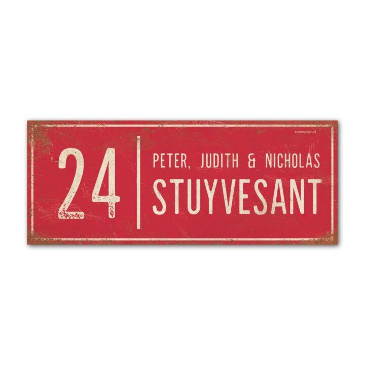 Naambord-Stuyvesant-vintage-koenmeloen-voordeur-rood-wit