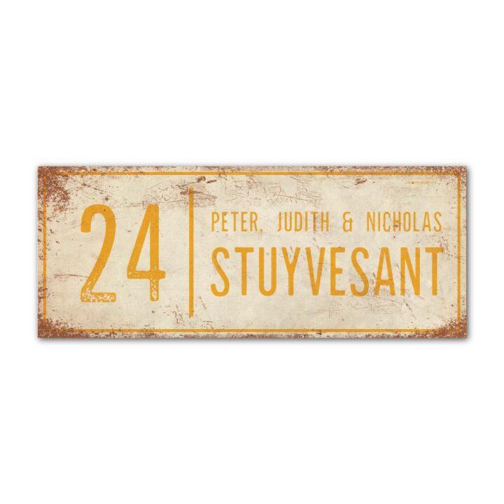 Naambord-Stuyvesant-vintage-koenmeloen-voordeur-wit-geel