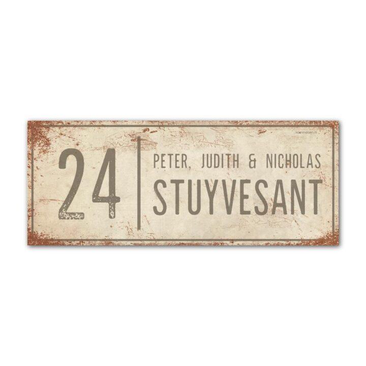 Naambord-Stuyvesant-vintage-koenmeloen-voordeur-wit-grijs