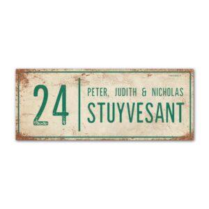 Naambord-Stuyvesant-vintage-koenmeloen-voordeur-wit-groen